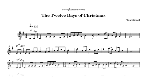 12 Days Of Christmas Sheet Music.The Twelve Days Of Christmas Traditional Free Flute