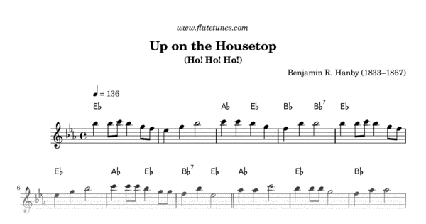 Up On The Housetop Br Hanby Free Flute Sheet Music