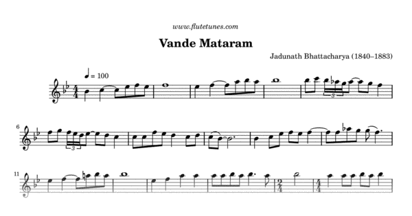 Vande Mataram J Bhattacharya Free Flute Sheet Music Flutetunes Com Music chords ukulele songs piano songs violin music guitar saxophone trombone fall out boy songs flute sheet music. flute tunes