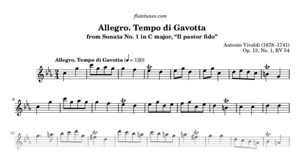 allegro  tempo di gavotta from il pastor fido  sonata no