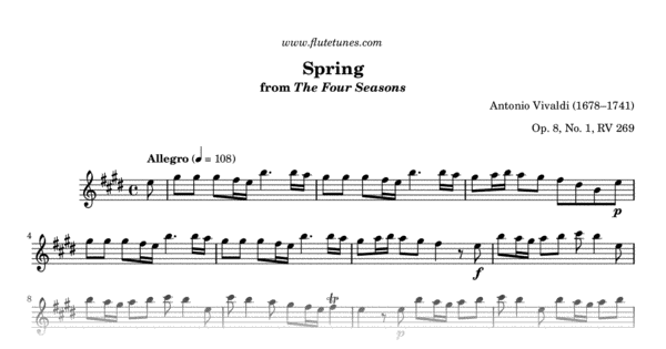 Spring From The Four Seasons A Vivaldi Free Flute Sheet