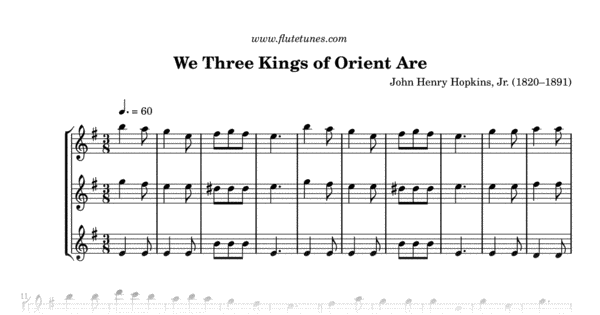 We Three Kings Of Orient Are Jh Hopkins Jr Free Flute Sheet