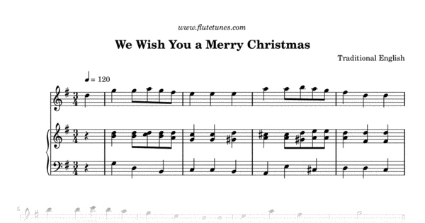 graphic regarding Lyrics to We Wish You a Merry Christmas Printable called We Drive On your own a Merry Xmas (Trad. English) - No cost Flute